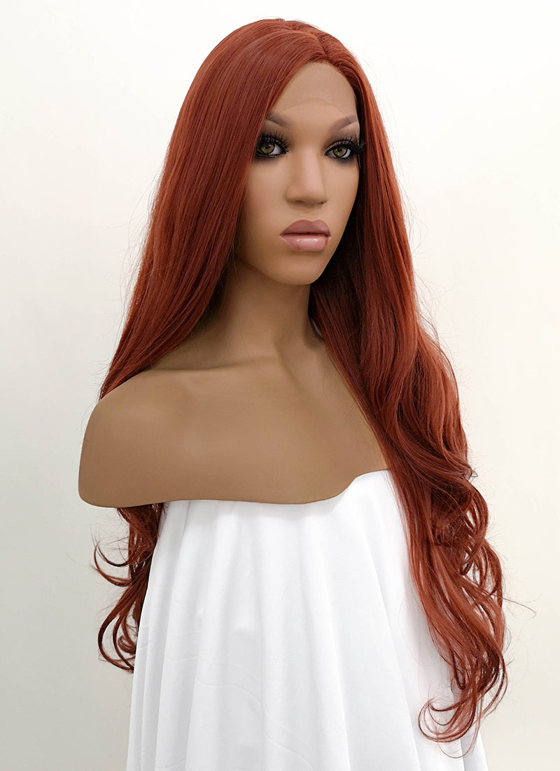 Auburn Wavy Lace Front Synthetic Wig LFB147