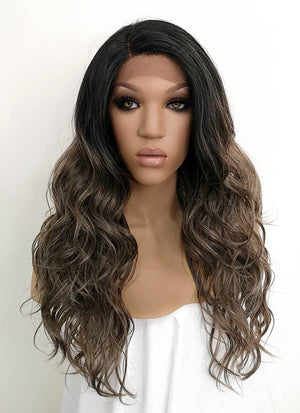 Brunette With Dark Roots Wavy Lace Front Synthetic Wig LFB3124