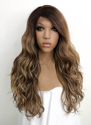 Mixed Brown With Dark Roots Wavy Lace Front Synthetic Wig LFB3125