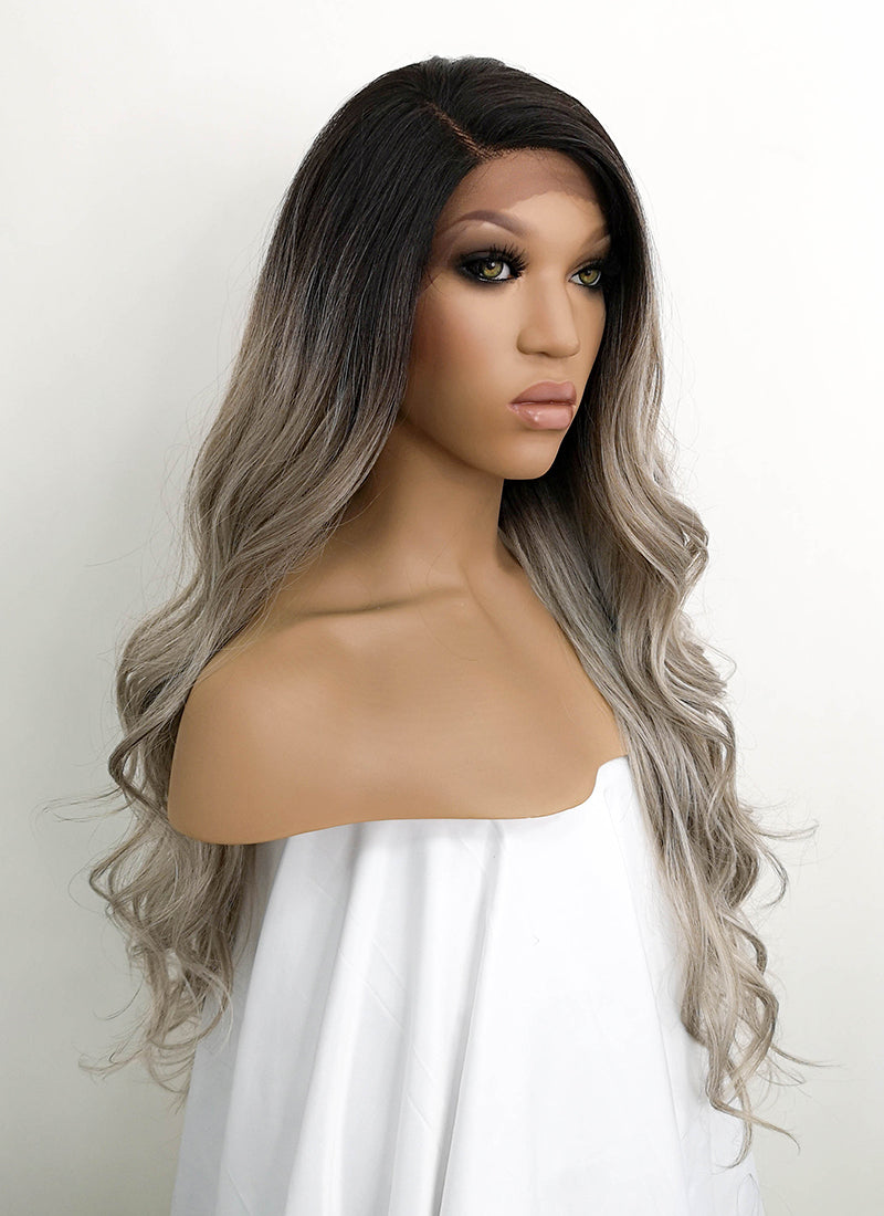 Mixed Blonde With Dark Roots Wavy Lace Front Synthetic Wig LFB3126