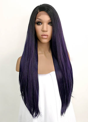 Dark Purple With Dark Roots Straight Lace Front Synthetic Wig LFB3135