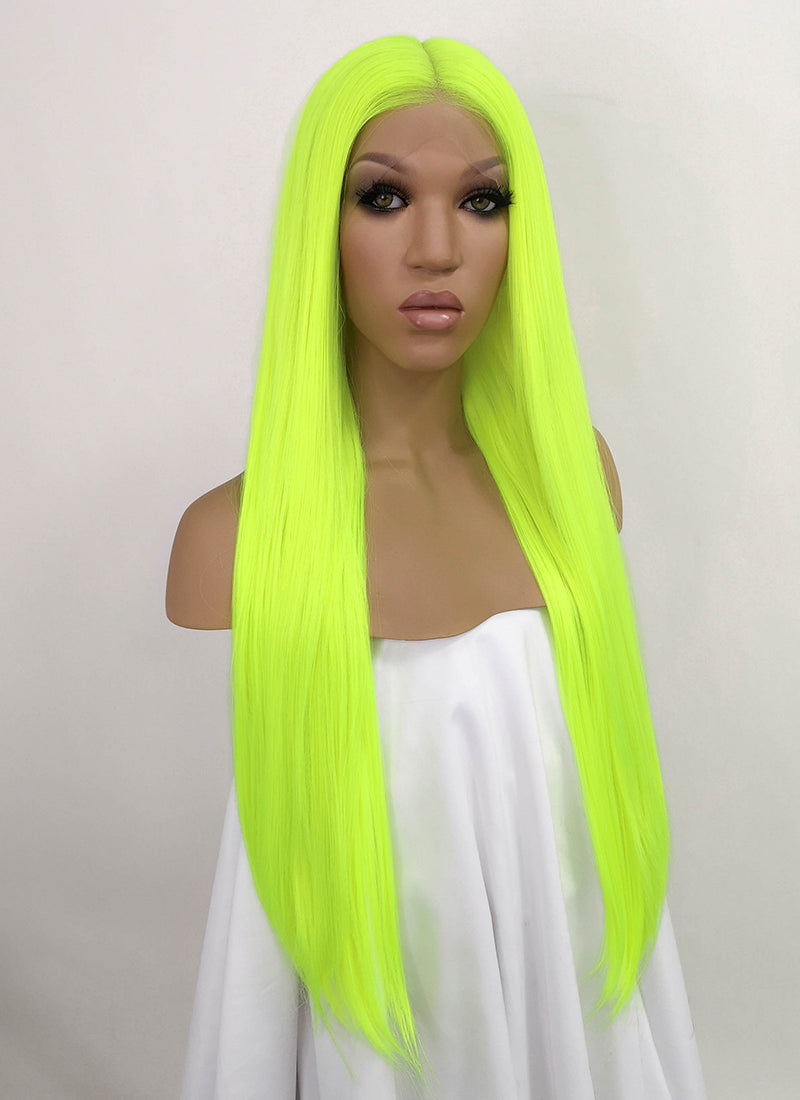"Neon Yellow Straight 13"" x 6"" Lace Front Synthetic Wig LFB3143"