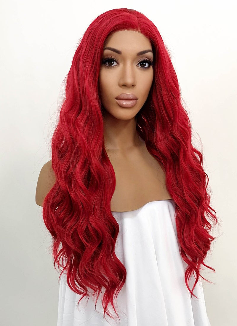 Wavy Red Lace Front Synthetic Wig LFB355