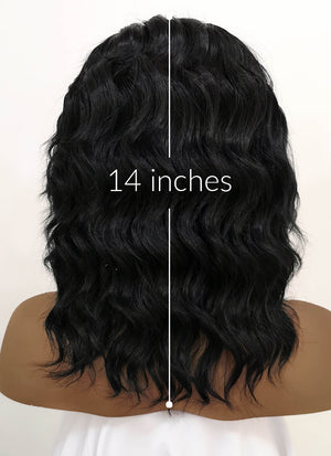 Black Wavy Bob Lace Front Synthetic Wig LFB406