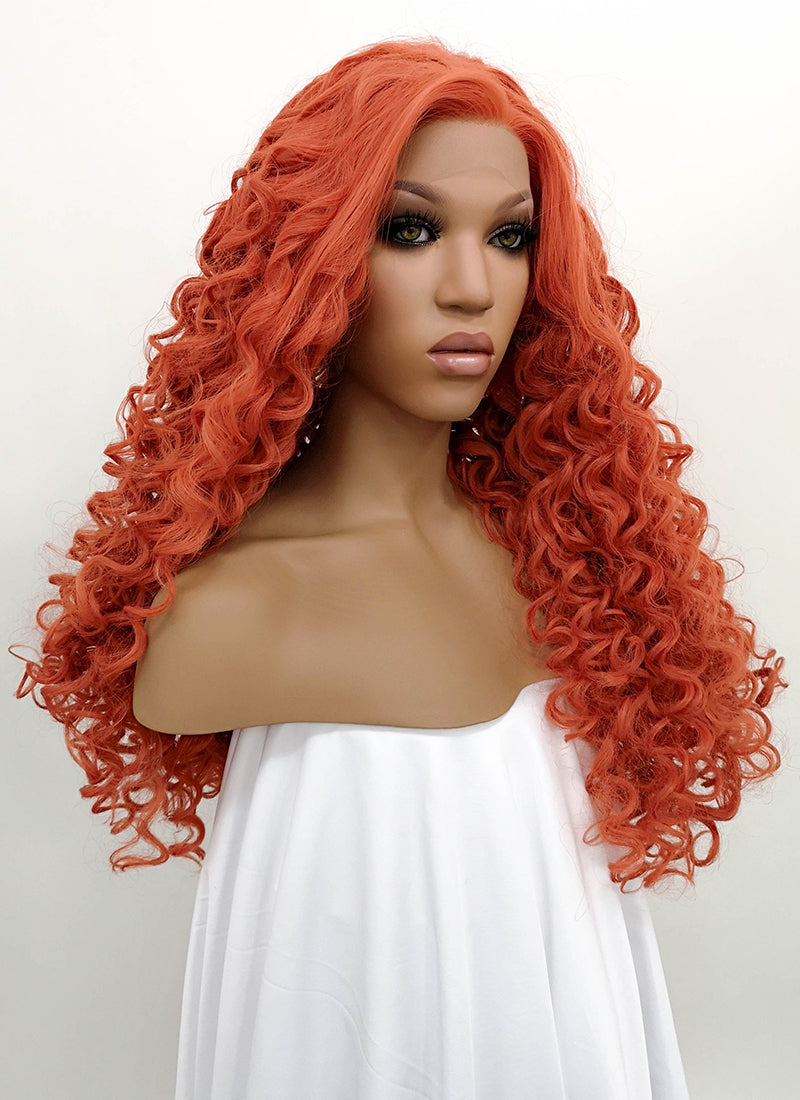 Orange Red Spiral Curly Lace Front Synthetic Wig LFB663J
