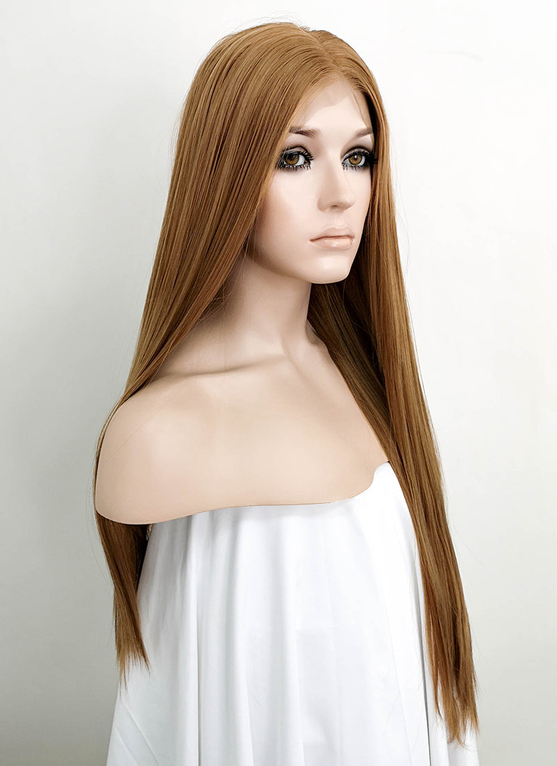 "Light Brown Straight 13"" x 6"" Lace Top Synthetic Wig LFK5509"