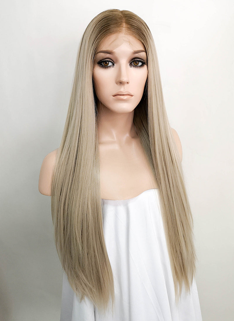 "Light Blonde With Brown Roots Straight 13"" x 6"" Lace Top Synthetic Wig LFK5517"
