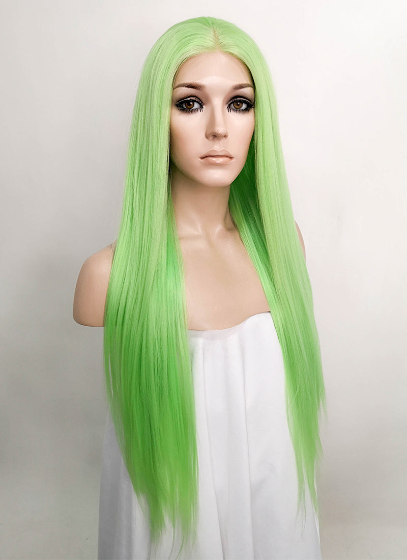Light Green Straight Lace Front Synthetic Wig LFK5518