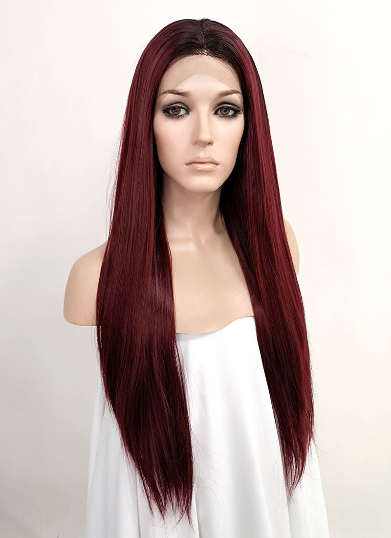 Dark Red With Dark Roots Straight Lace Front Synthetic Wig LFK5520