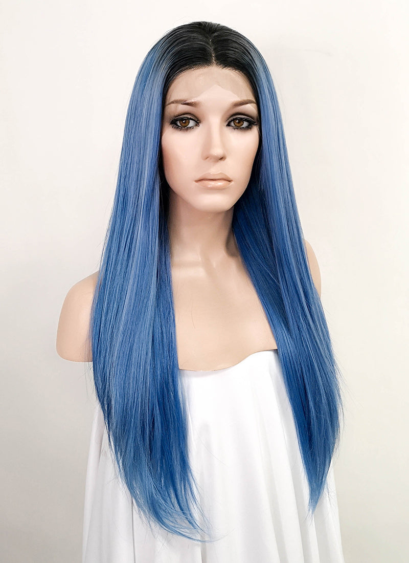 Blue With Dark Roots Straight Lace Front Synthetic Wig LFK5521