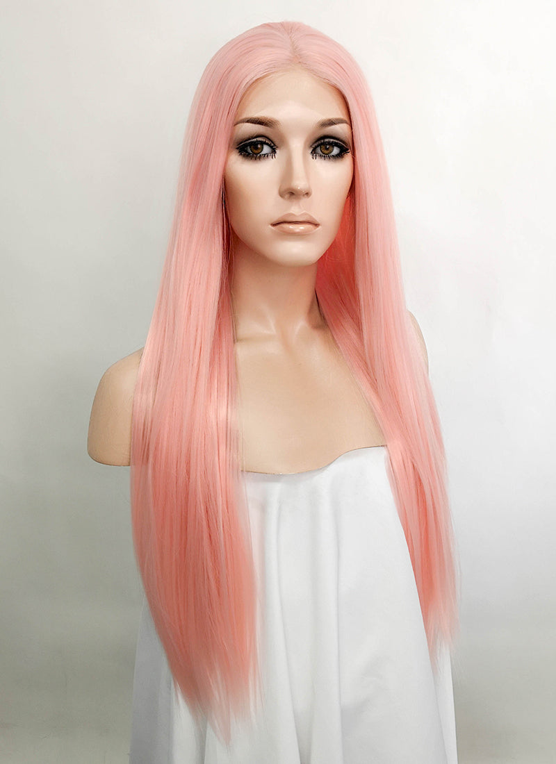 Pastel Pink Straight Lace Front Synthetic Wig LFK5523