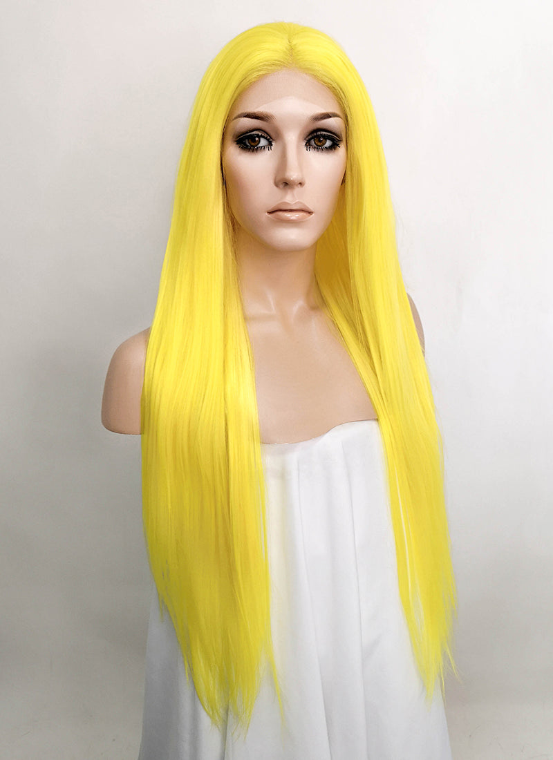 Yellow Straight Lace Front Synthetic Wig LFK5524
