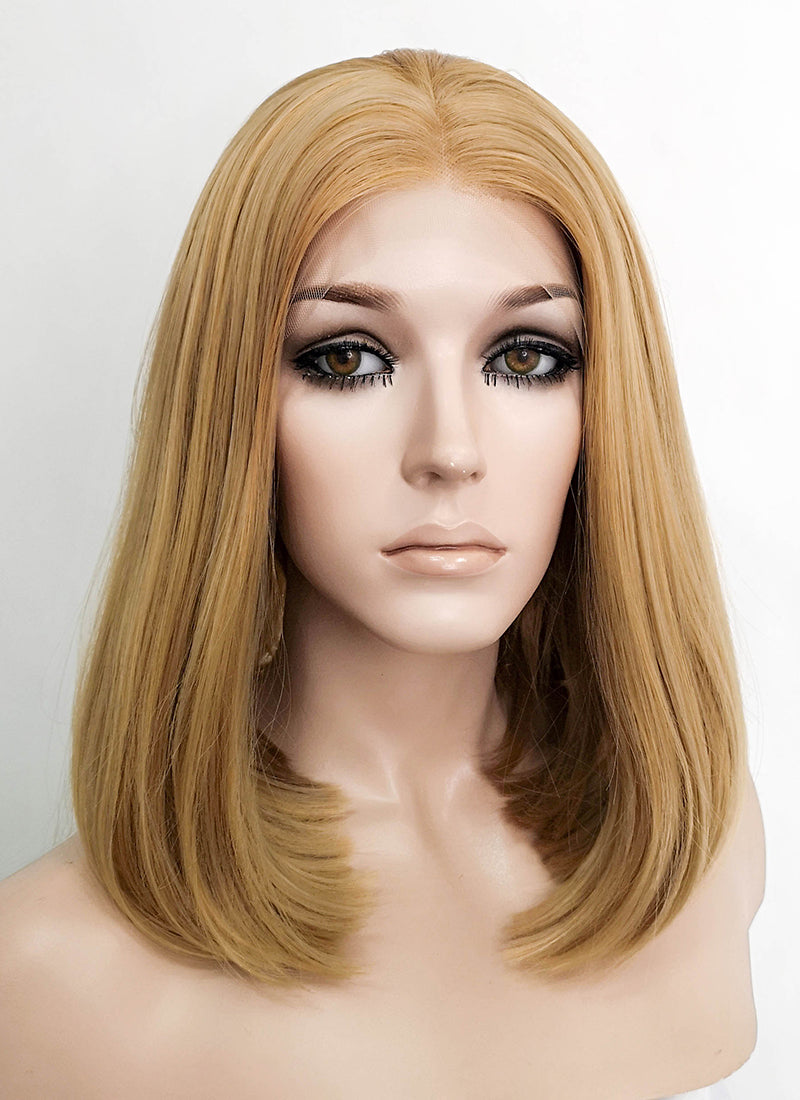 Golden Blonde Straight Bob Lace Front Synthetic Wig LFK5528