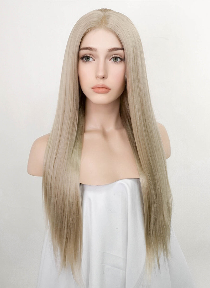 Ash Blonde Straight Lace Front Synthetic Wig LFK5536