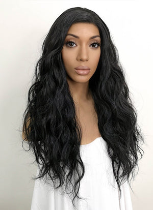 Black Wavy Lace Front Synthetic Wig LFKB5511