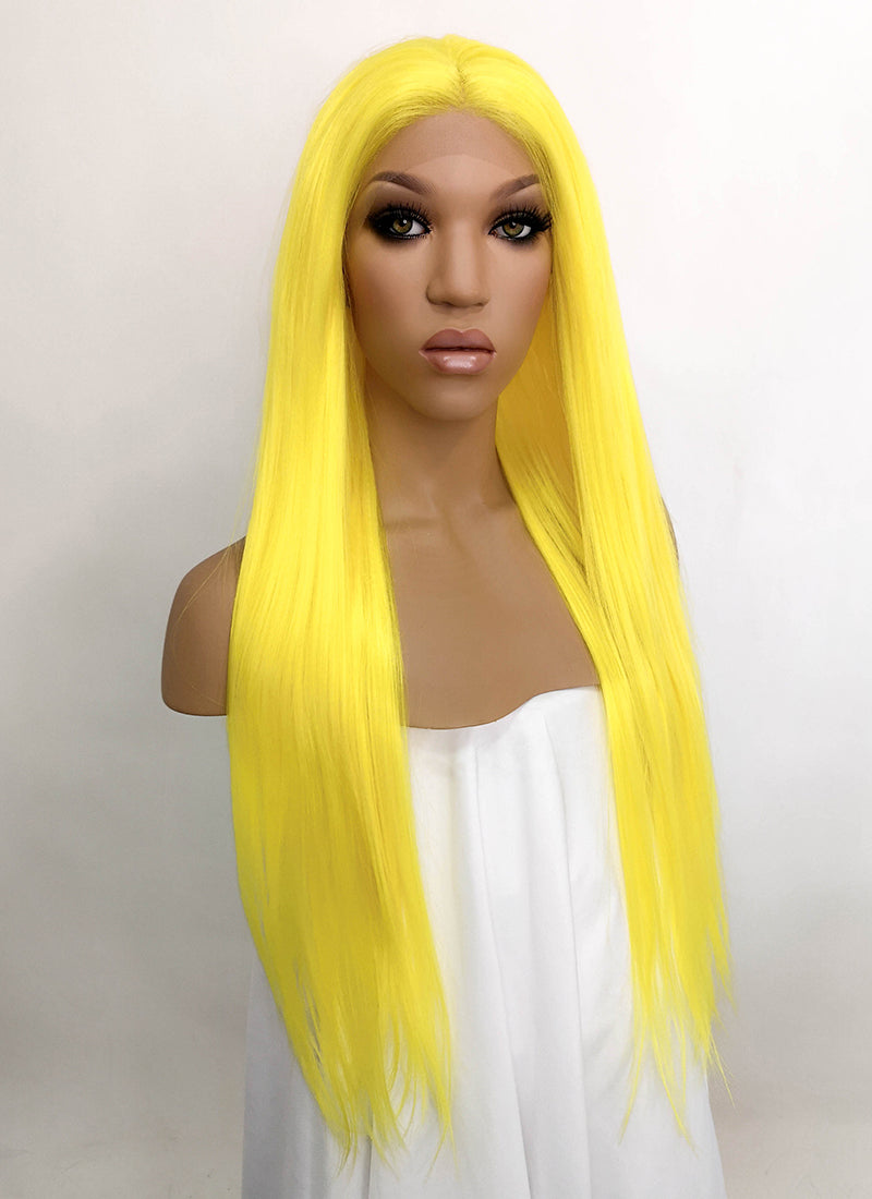 Yellow Straight Lace Front Synthetic Wig LFKB5524
