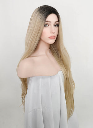 Ash Blonde With Dark Roots Wavy Lace Front Synthetic Wig LFM004