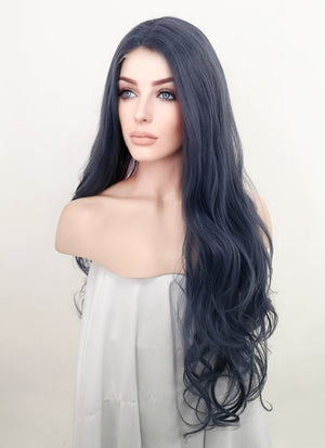 Ash Blue Wavy Lace Front Synthetic Wig LFM005