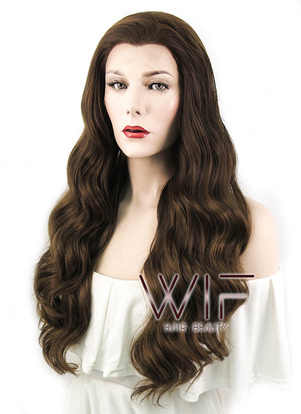 Brunette Wavy Lace Front Synthetic Wig LF100