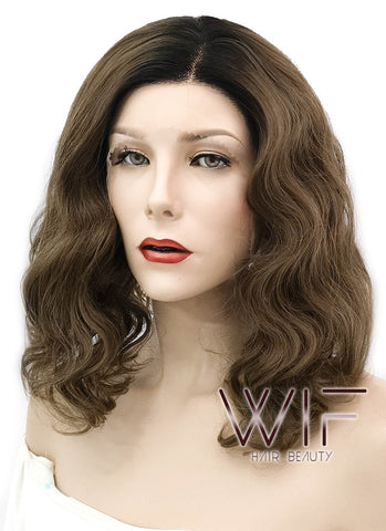 Chestnut Brown With Dark Roots Wavy Lace Front Synthetic Wig LF3101