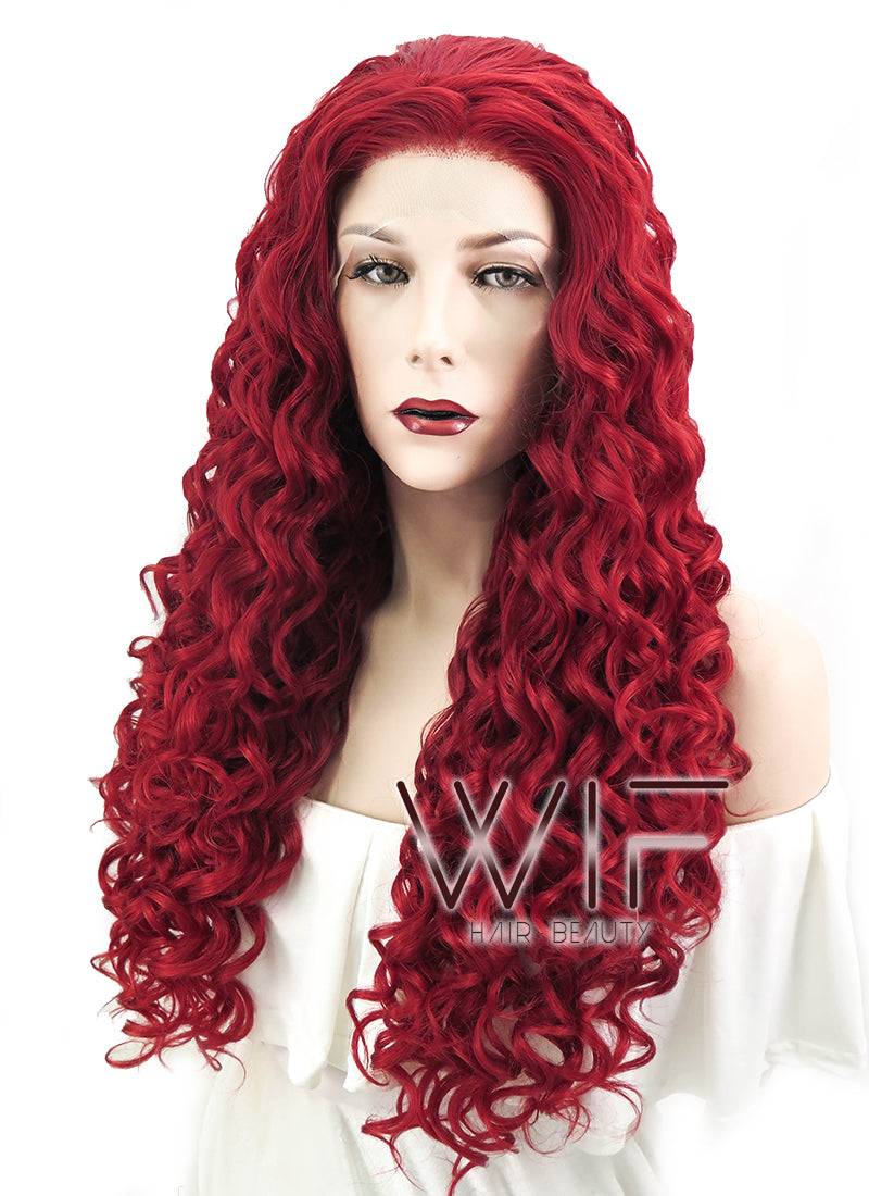 Spiral Curly Dark Red Lace Front Synthetic Wig LF186