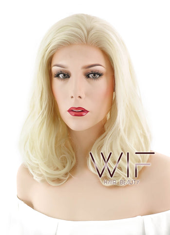 "11"" Short Curly Medium Blonde Lace Front Synthetic Hair Wig LF326"