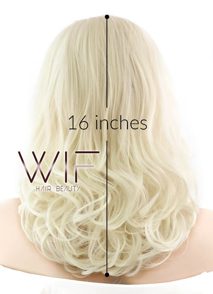 "16"" Medium Curly Blonde Lace Front Synthetic Hair Wig LF367"