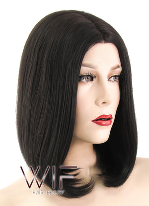 Black Mixed Brown Straight Bob Lace Front Synthetic Wig LF437 - Wig Is Fashion