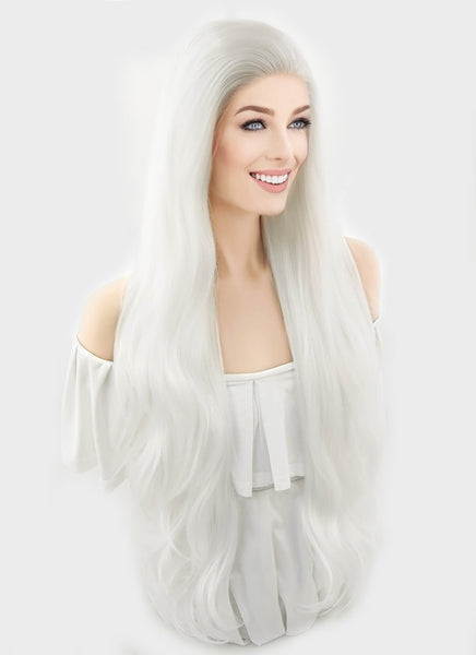 "28"" Long Wavy Platinum White Lace Front Synthetic Hair Wig LF640H"