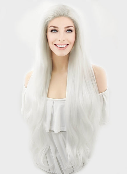 "28"" Wavy Platinum White Lace Front Synthetic Wig LF640H"