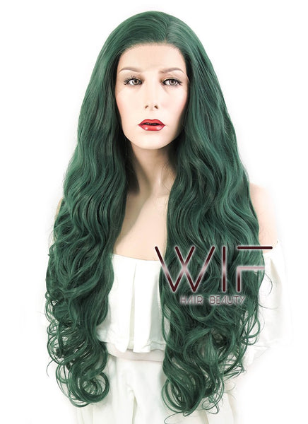 "28"" Wavy Deep Sea Green Lace Front Synthetic Wig LF667V"