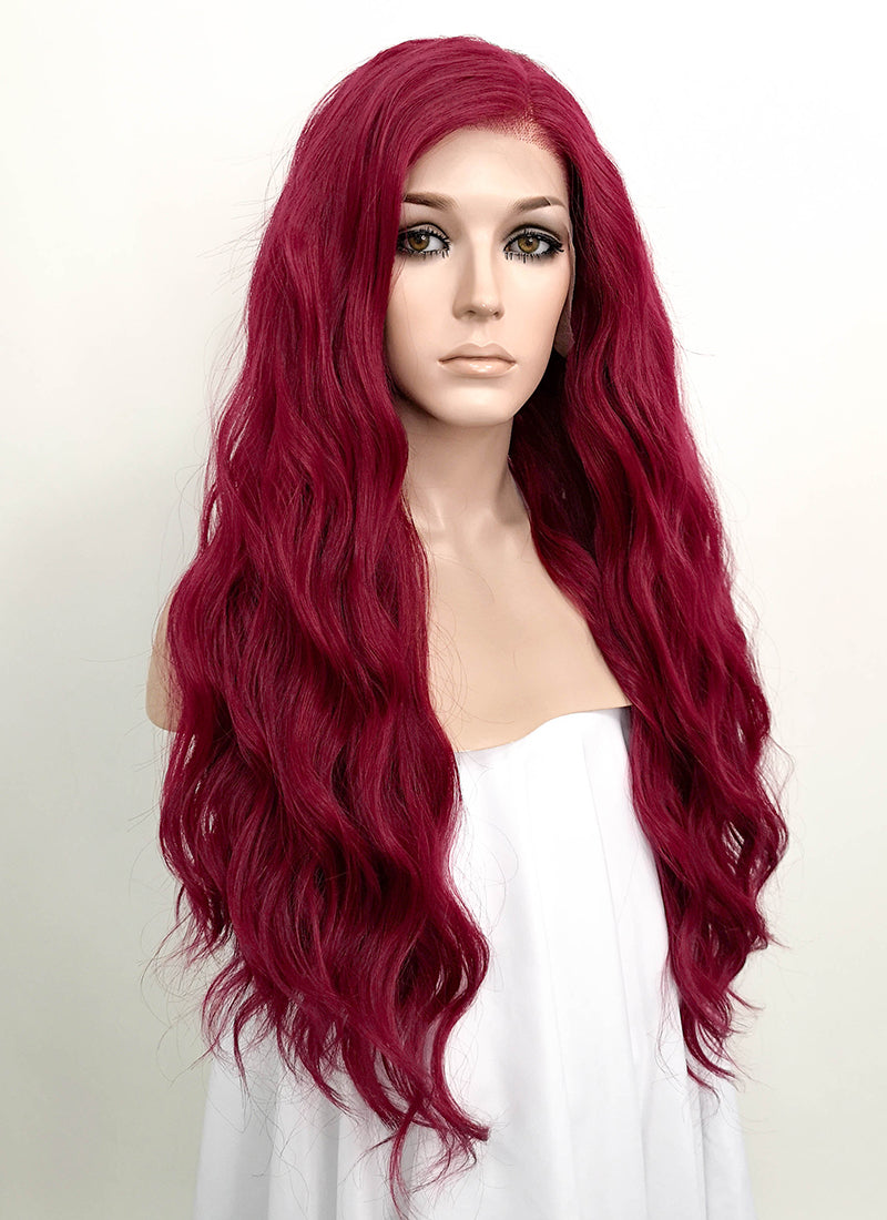 Red Wavy Deep Part Lace Front Synthetic Wig LFS001
