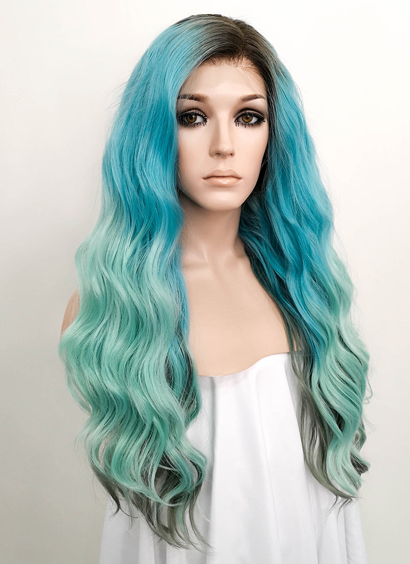 Blue Green Ombre With Dark Roots Wavy Deep Part Lace Front Synthetic Wig LFS002