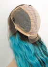 "Blue Green Ombre With Dark Roots Wavy 13"" x 6"" Lace Front Synthetic Wig LFS002"