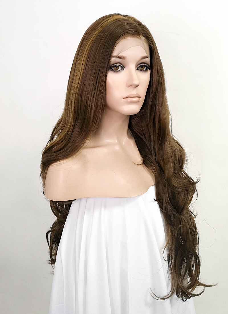 "Brown Wavy 13"" x 6"" Lace Top Synthetic Wig LFS006"