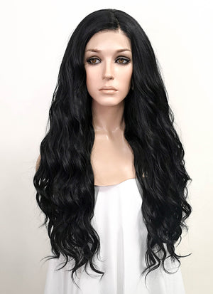 "Black Wavy 13"" x 6"" Lace Top Synthetic Wig LFS007"