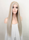 "Pastel Blonde Grey Ombre Straight 13"" x 6"" Lace Top Synthetic Wig LFS010"