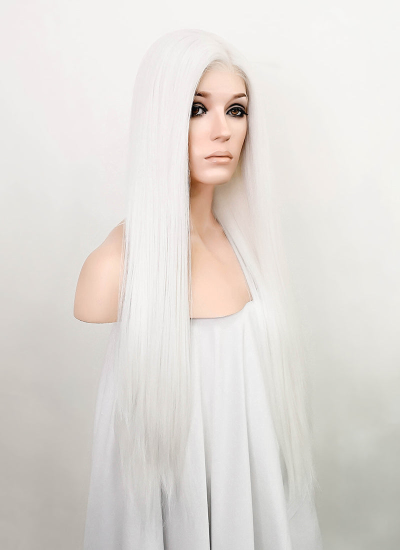"White Straight 13"" x 6"" Lace Top Synthetic Wig LFS013"