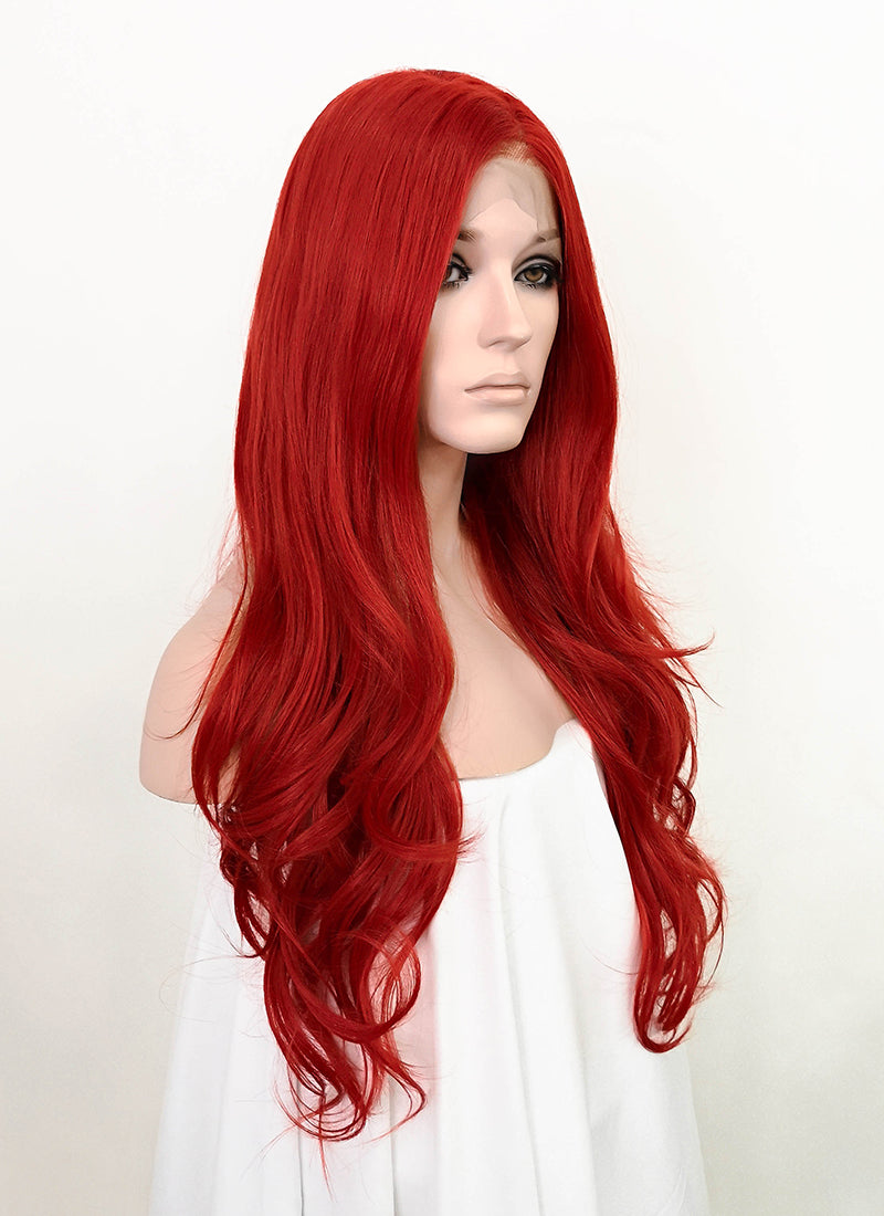 "Red Wavy 13"" x 6"" Lace Top Synthetic Wig LFS014"