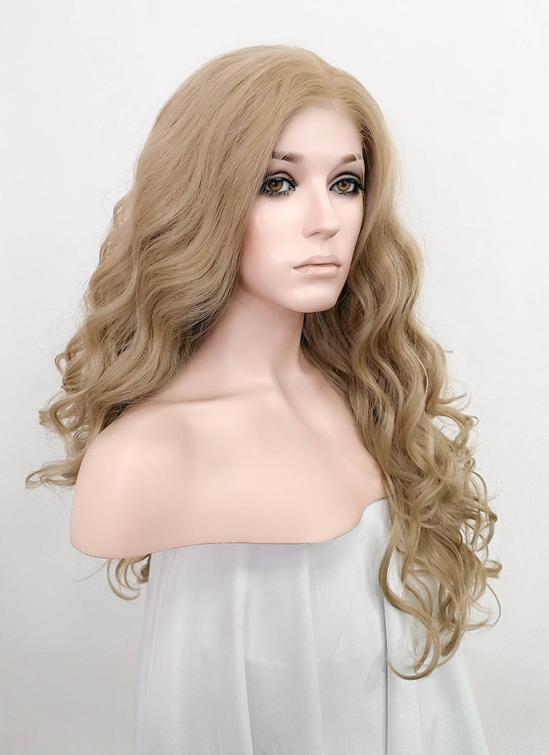 "Ash Blonde Wavy 13"" x 6"" Lace Top Synthetic Wig LFS015"