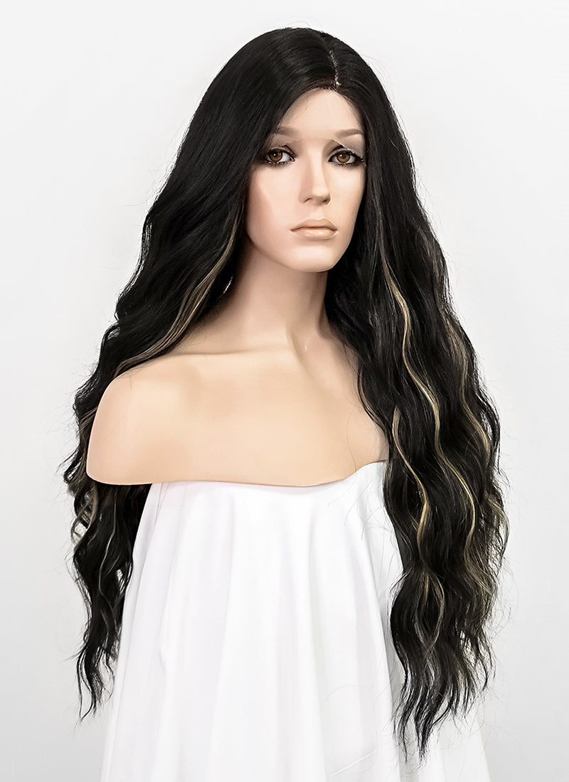Black Mixed Blonde Wavy Lace Front Synthetic Wig LFT001