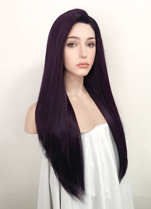 Dark Purple Straight Yaki Lace Front Synthetic Wig LN6000
