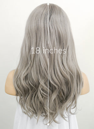 Grey With Dark Roots Wavy Lace Front Synthetic Wig LN6001