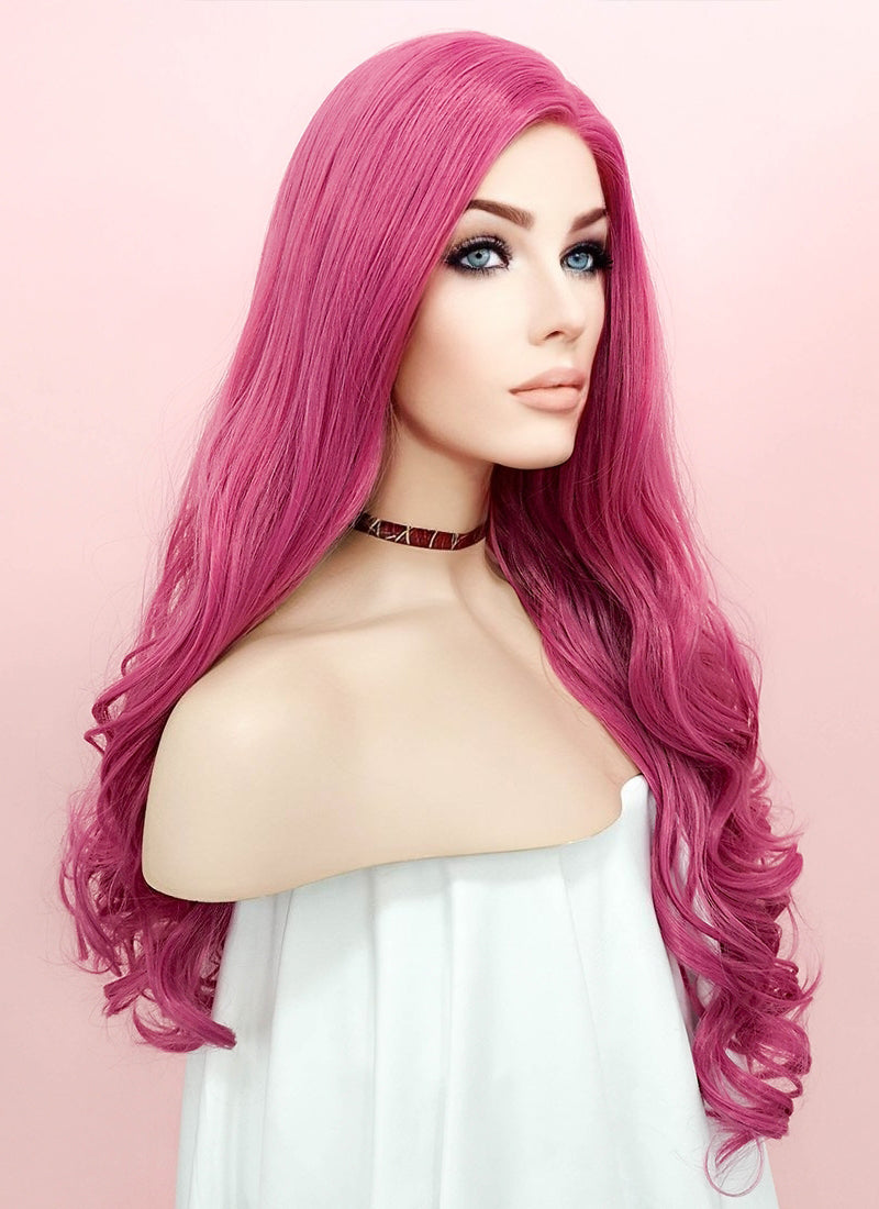 Pink Wavy Lace Front Synthetic Wig LN6004