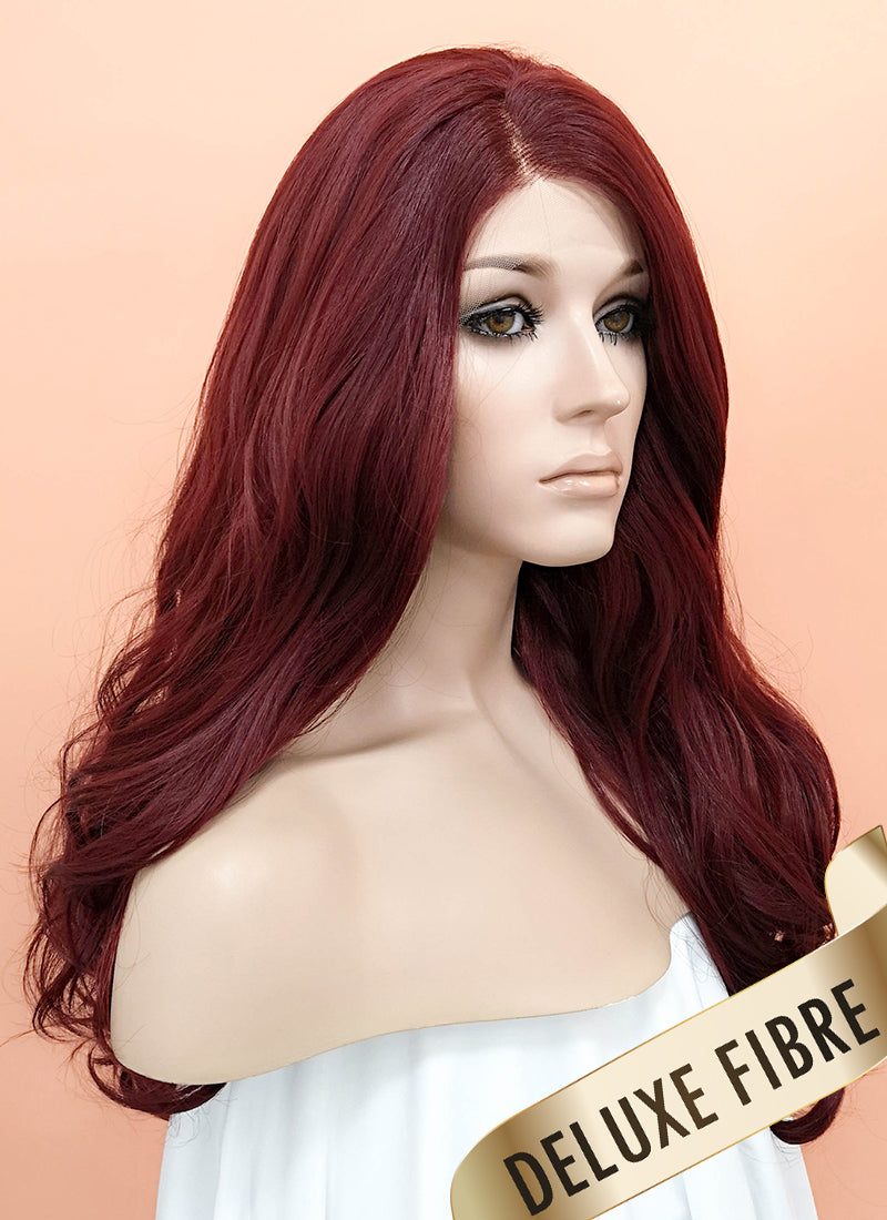 Reddish Brown Wavy Lace Front Synthetic Wig LNK011