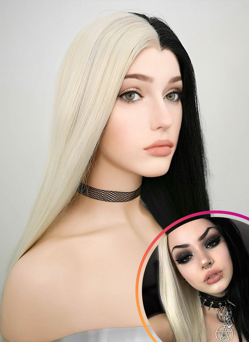 Straight Light Blonde Black Split Color Lace Front Synthetic Wig LW1531