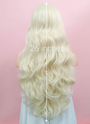 Wavy Platinum Blonde Lace Front Synthetic Wig LW667F