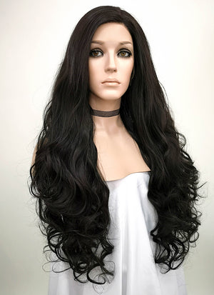 Wavy Natural Black Lace Front Synthetic Wig LW667R