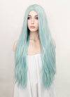Pastel Coral Blue Straight Lace Front Synthetic Wig LW813