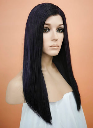 Dark Purple Straight Bob Lace Front Synthetic Wig LW836